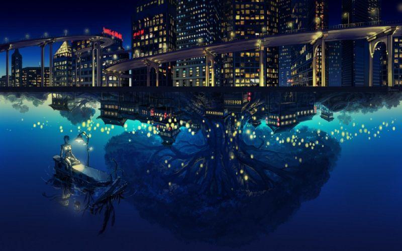 urban anime rivers wallpaper