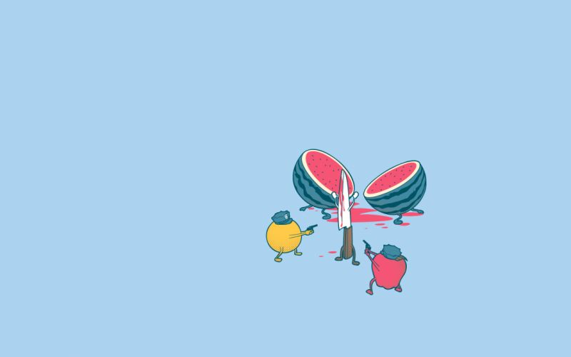fruits watermelons murder knives wallpaper