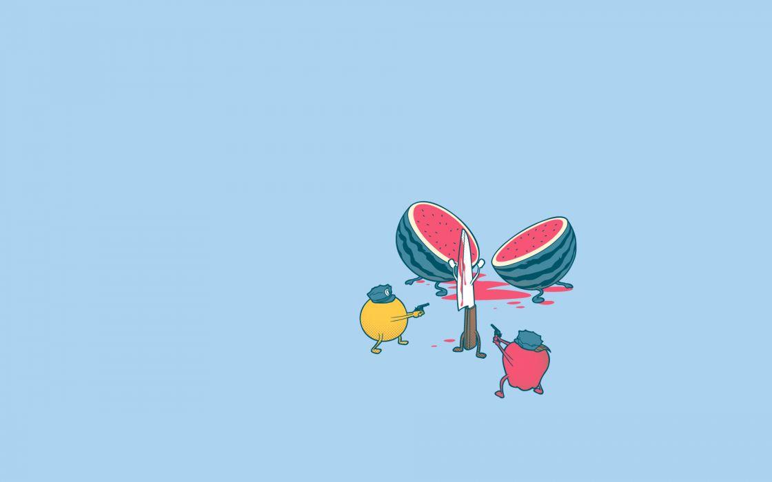 fruits watermelons murder knives wallpaper