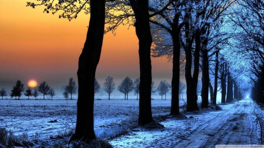 sunset nature winter snow wallpaper