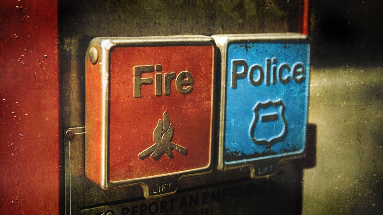 fire police emergency buttons contradiction wallpaper