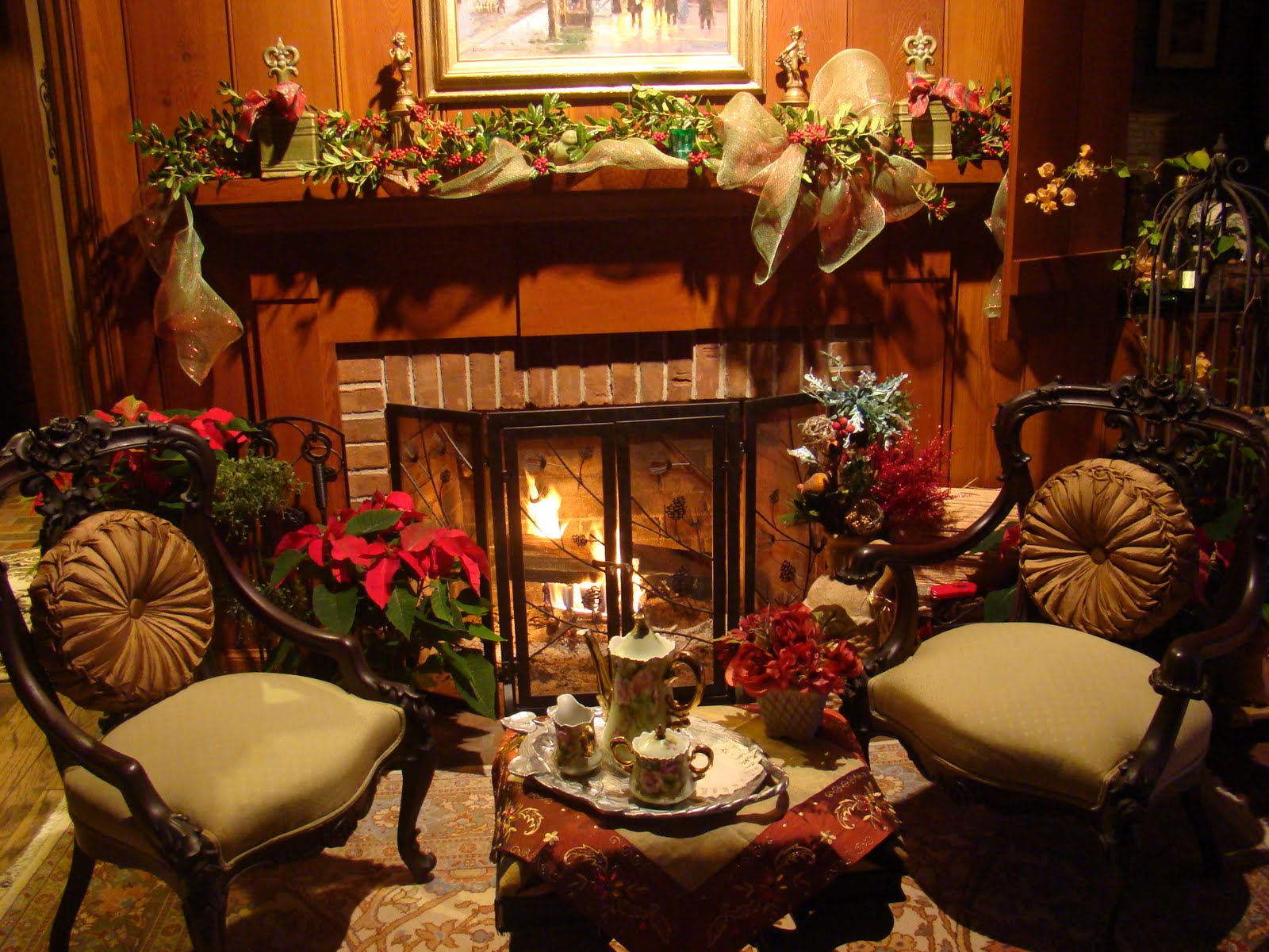 Christmas fireplace fire holiday festive decorations e - Decoracion de chimeneas rusticas ...