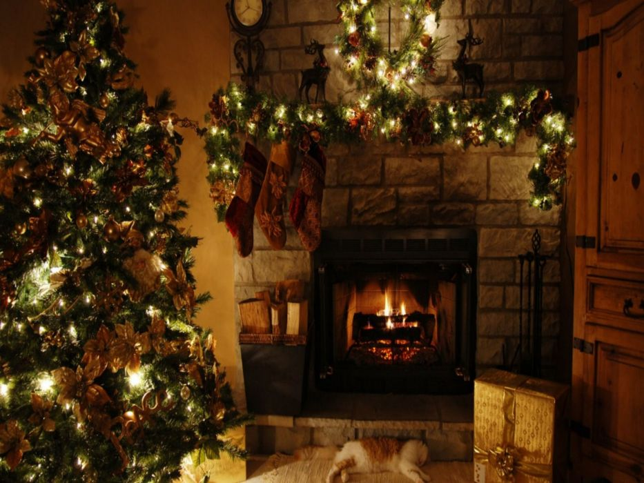 christmas fireplace fire holiday festive decorations    h wallpaper