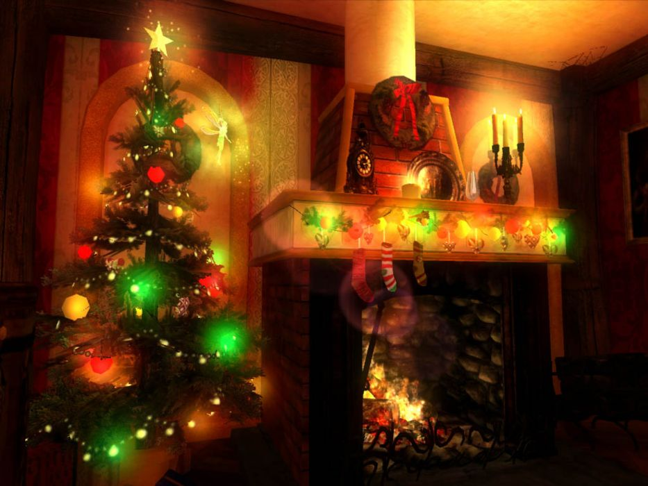 christmas fireplace fire holiday festive decorations   rs wallpaper