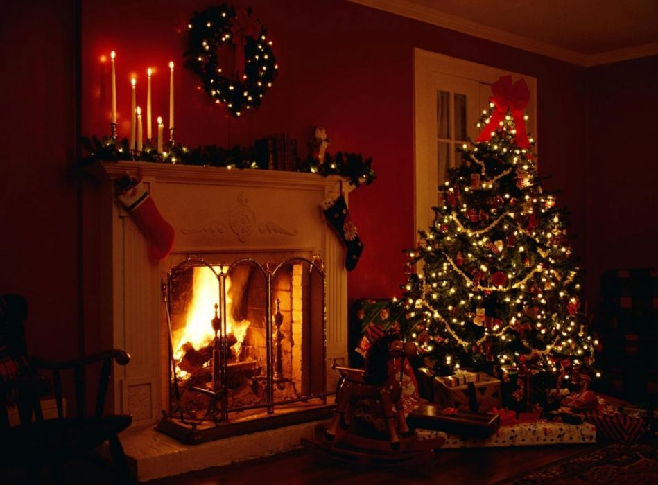 christmas fireplace fire holiday festive decorations   u wallpaper