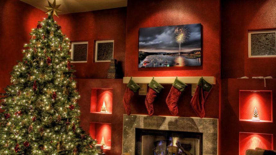 christmas fireplace fire holiday festive decorations e wallpaper