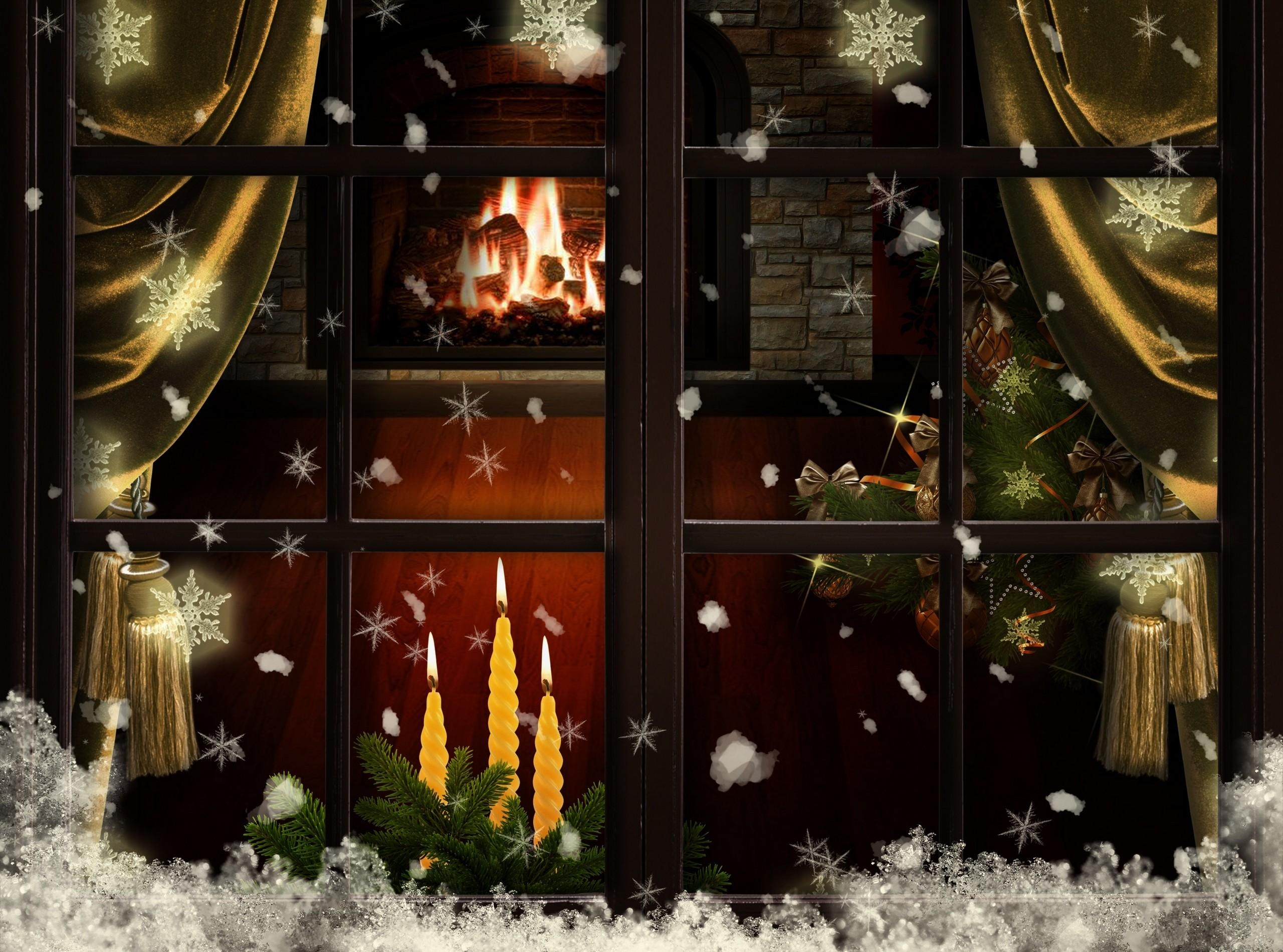 Christmas fireplace fire holiday festive decorations y