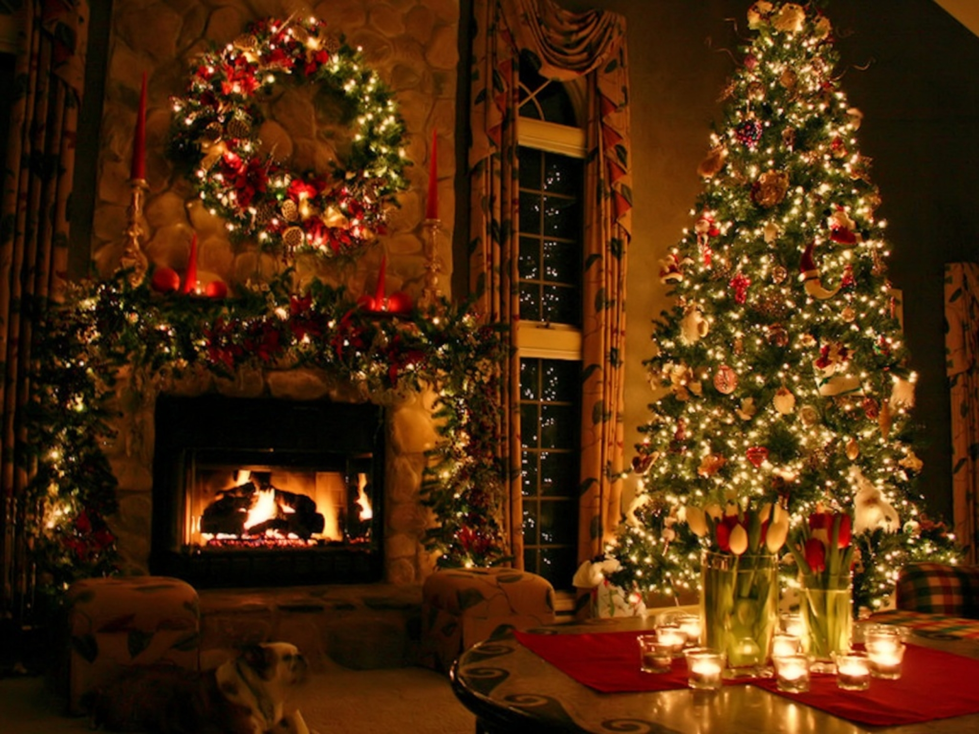 Christmas fireplace fire holiday festive decorations hx for Decoration wallpaper