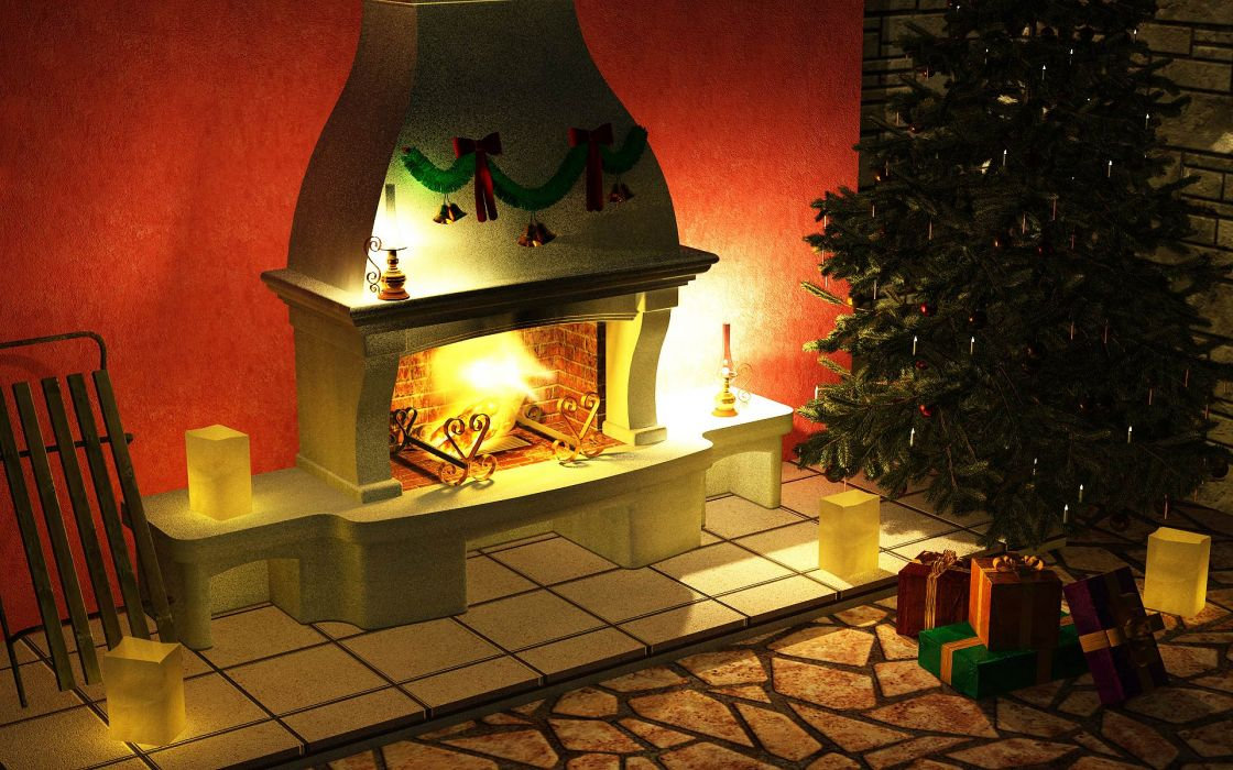 christmas fireplace fire holiday festive decorations   rw wallpaper