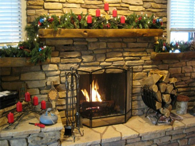 christmas fireplace fire holiday festive decorations f wallpaper