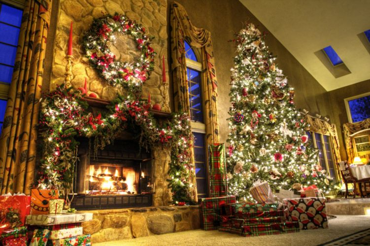 christmas fireplace fire holiday festive decorations eq wallpaper
