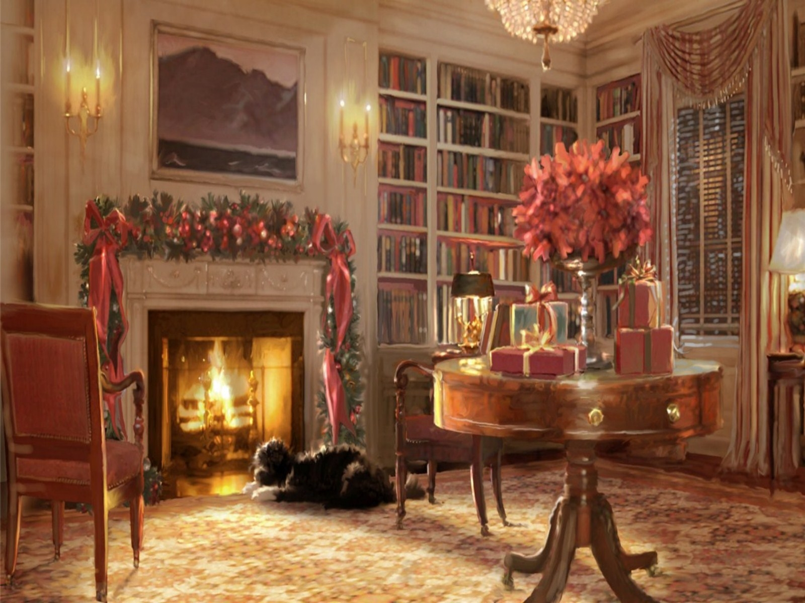 Christmas fireplace fire holiday festive decorations art painting f ...