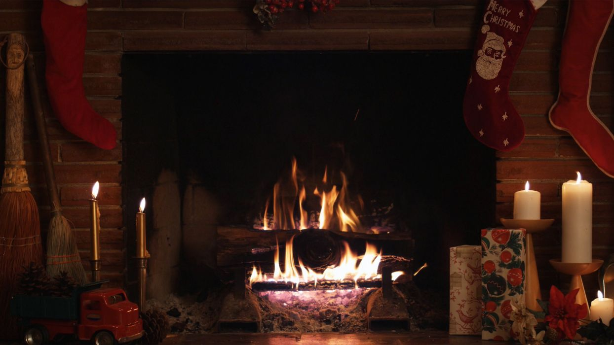 christmas fireplace fire holiday festive decorations candle       f wallpaper