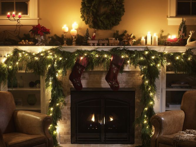 christmas fireplace fire holiday festive decorations candle g wallpaper