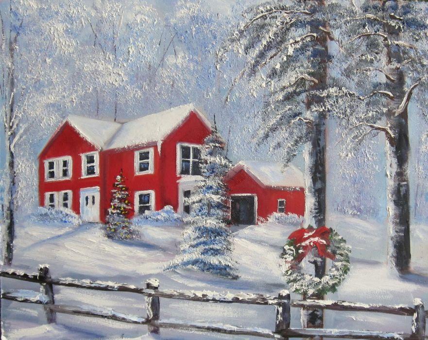painting art winter snow     f wallpaper
