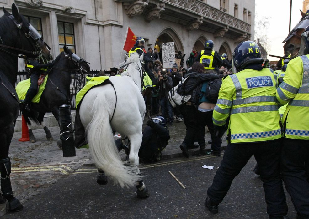 protest anarchy march crowd police horse    h wallpaper