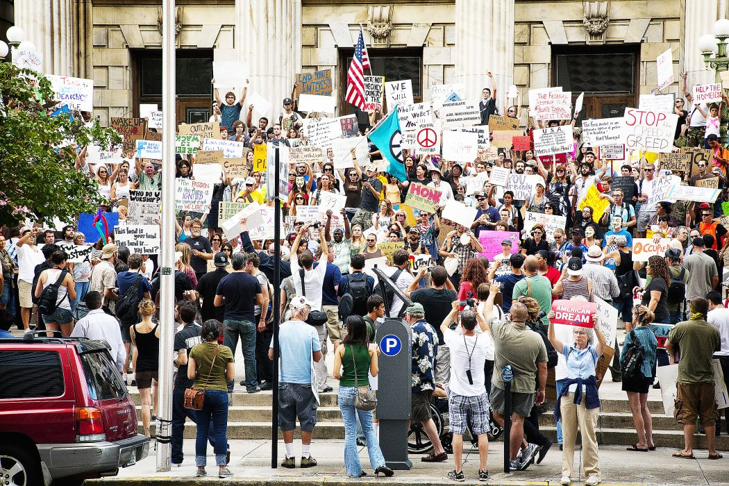 protest anarchy march crowd signs text         h wallpaper