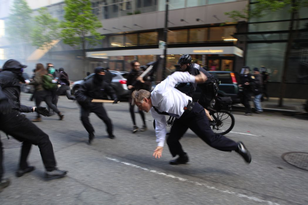 protest anarchy march crowd police seattle       g wallpaper