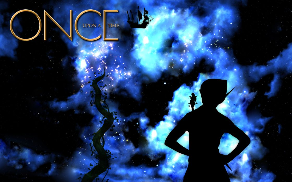ONCE-UPON-A-TIME fantasy drama adventure mystery fairy peter pan disney stars nebula sky wallpaper