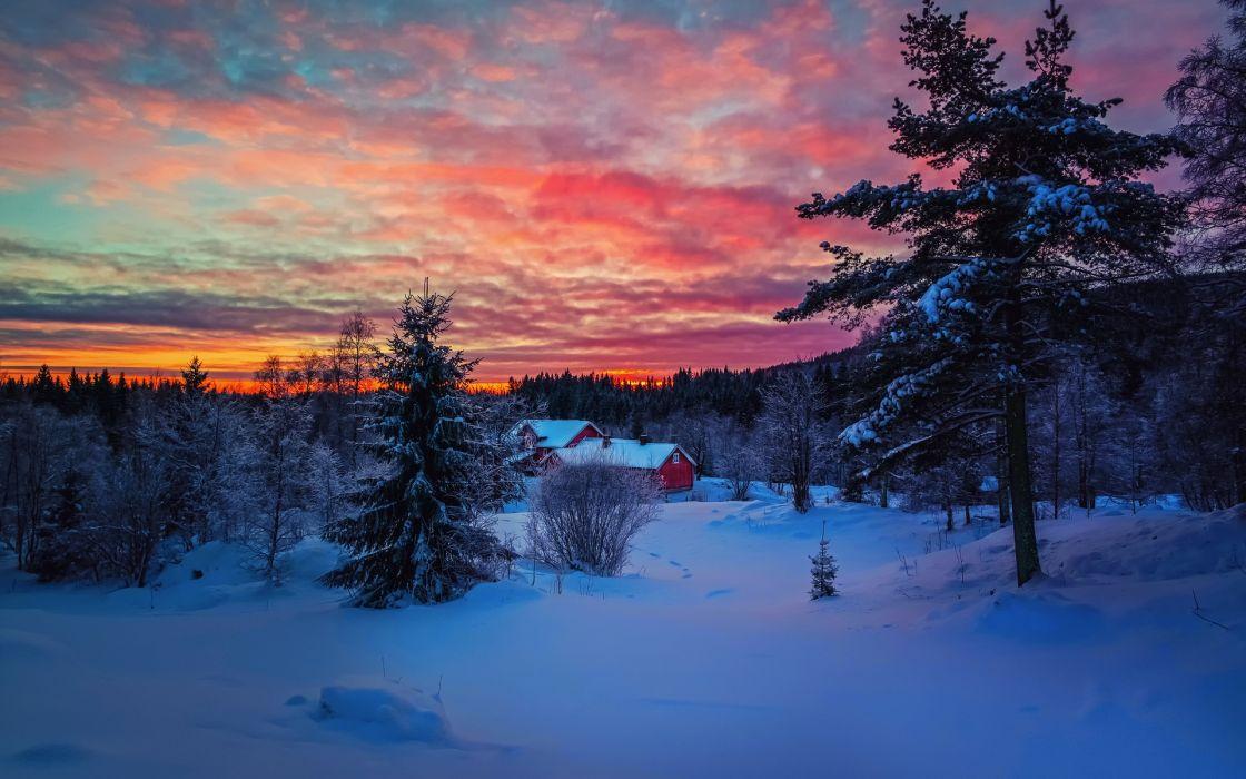 winter snow sunset wallpaper
