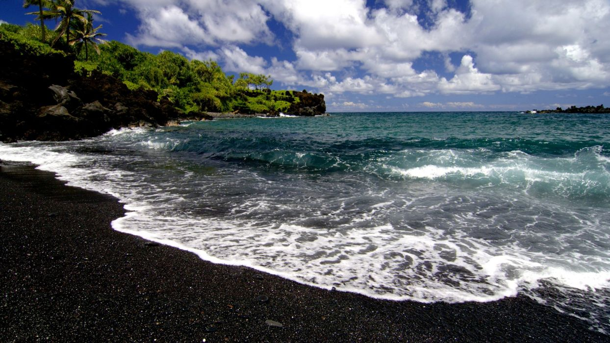waves Hawaii black sand beaches wallpaper