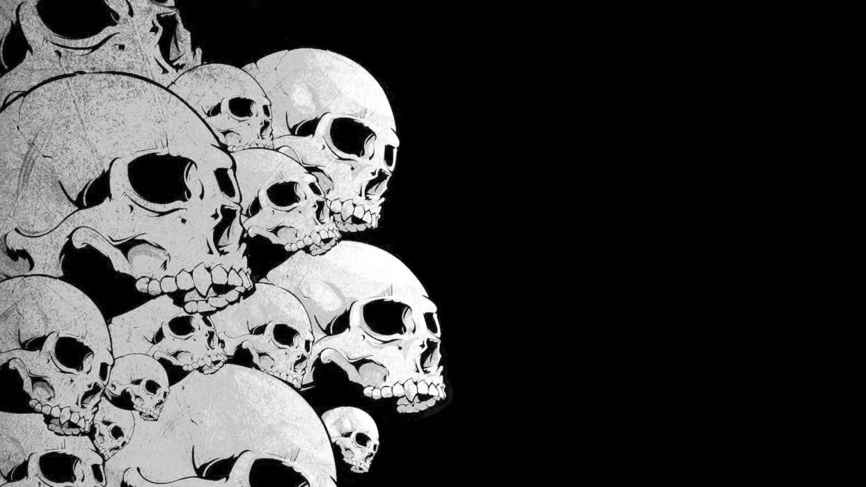 skulls black background wallpaper