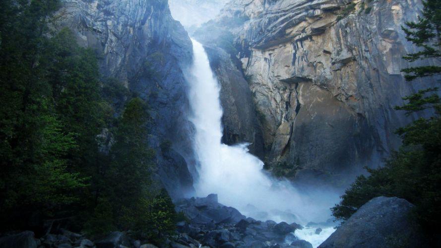landscapes nature waterfalls landmark Yosemite National Park wallpaper