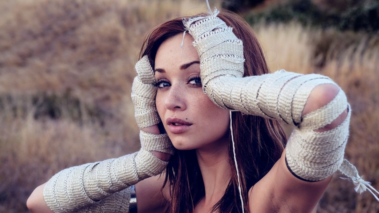 brunettes women blue eyes models Sierra Love wallpaper