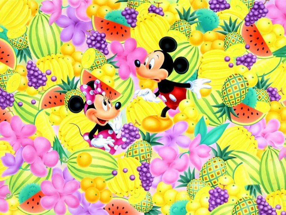 Cartoons Disney Company Fruits Mickey Mouse Minnie Wallpaper