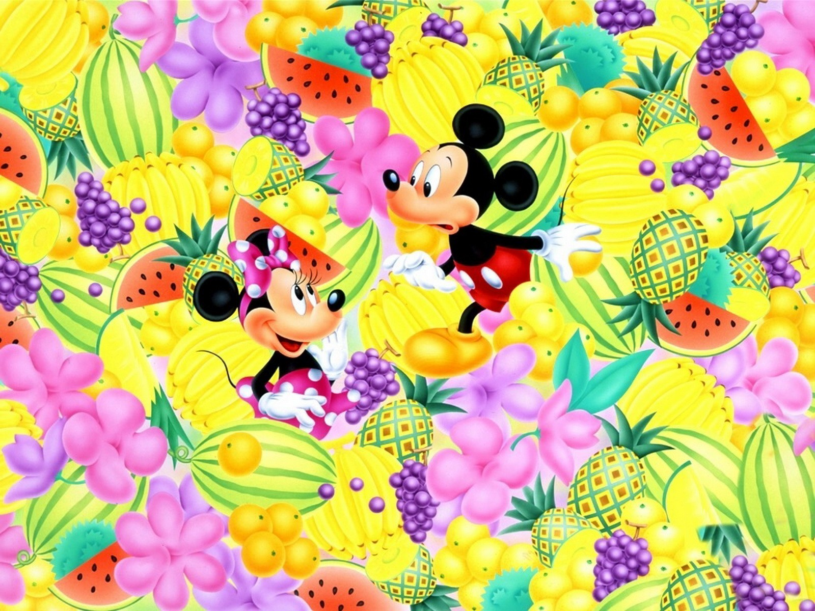 Cartoons Disney Company Fruits Mickey Mouse Minnie Mouse Wallpaper