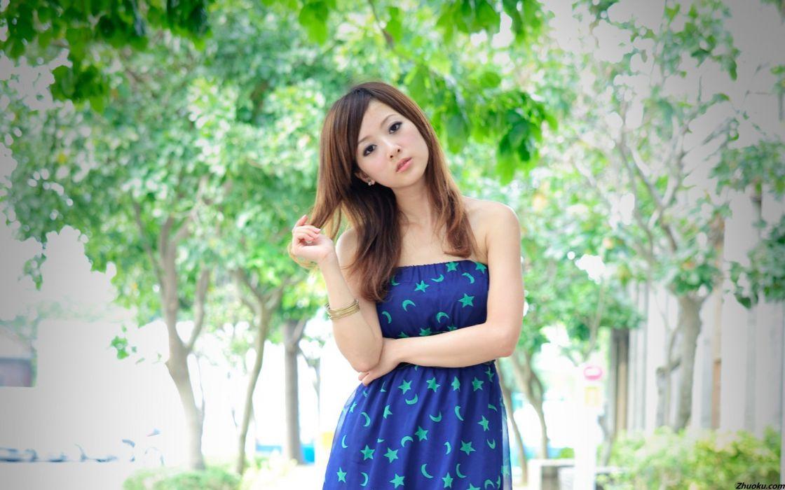 brunettes women models Asians Mikako Zhang Kaijie wallpaper