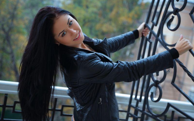 brunettes women models long hair leather jacket Ukrainian Macy B wallpaper