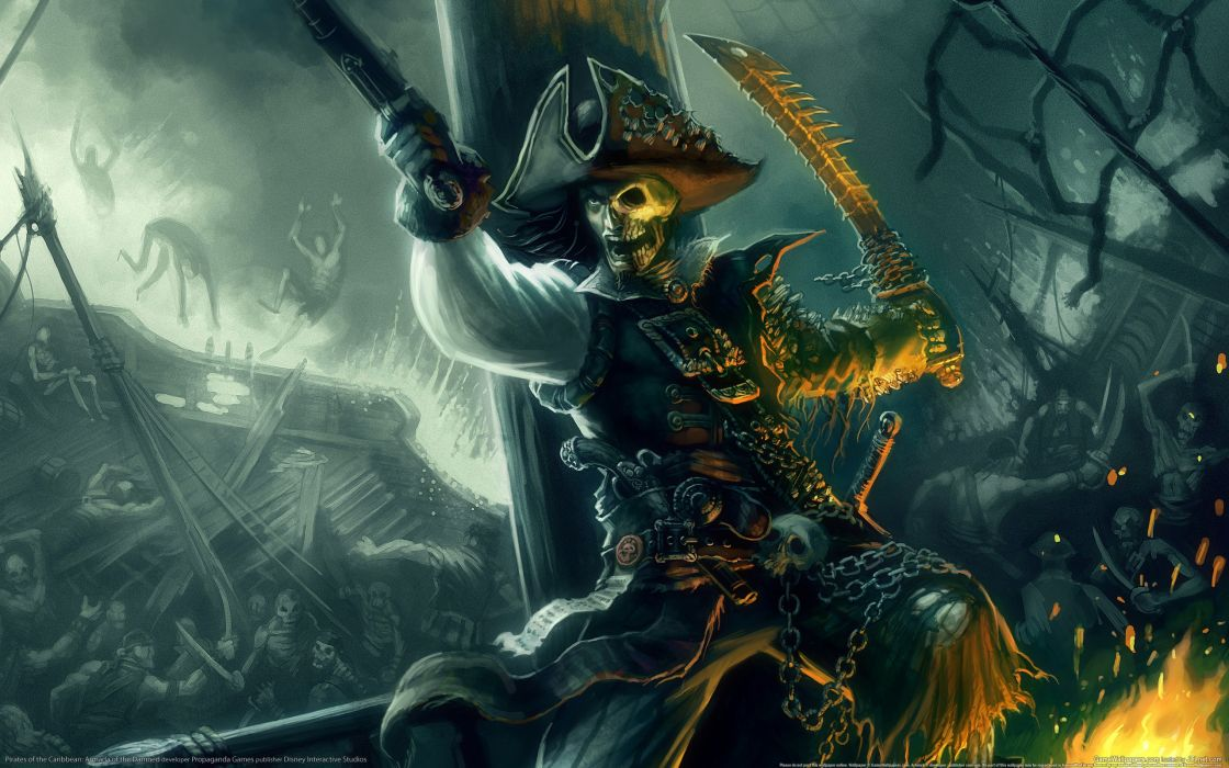 video games pirates weapons skeletons battles artwork wallpaper