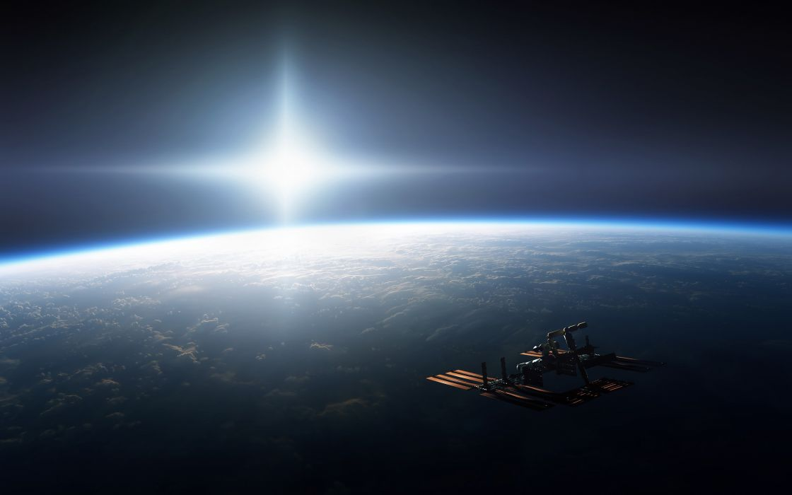 outer space Earth satellite wallpaper