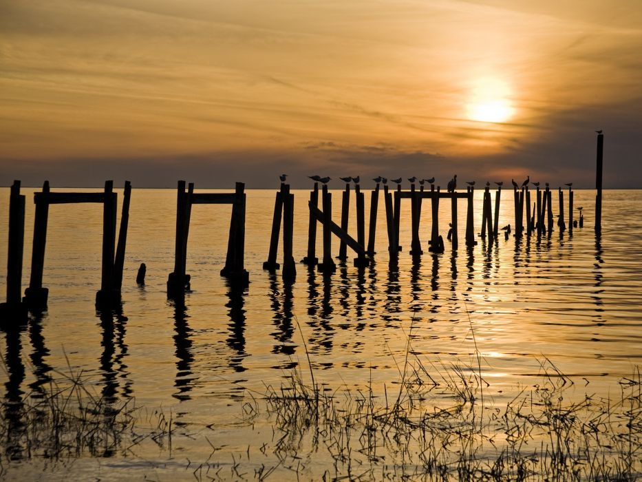 sunset piers Florida wallpaper