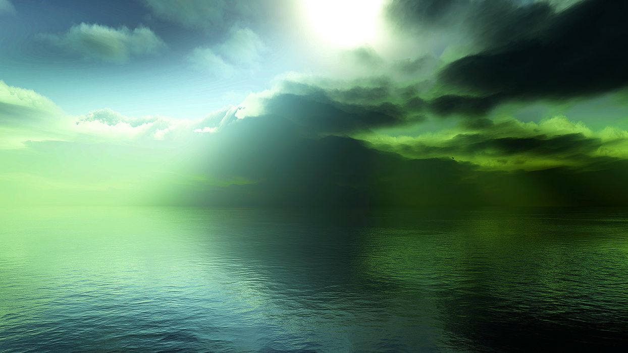 water ocean clouds landscapes sunlight lakes waterscapes wallpaper