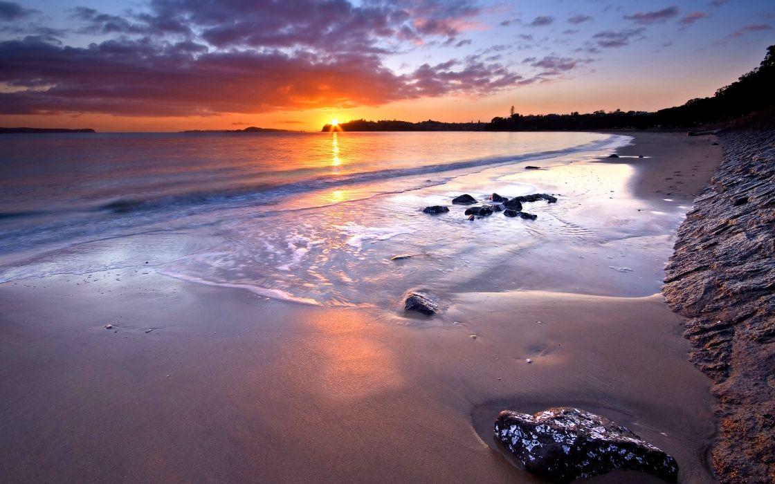 sunset nature beaches wallpaper
