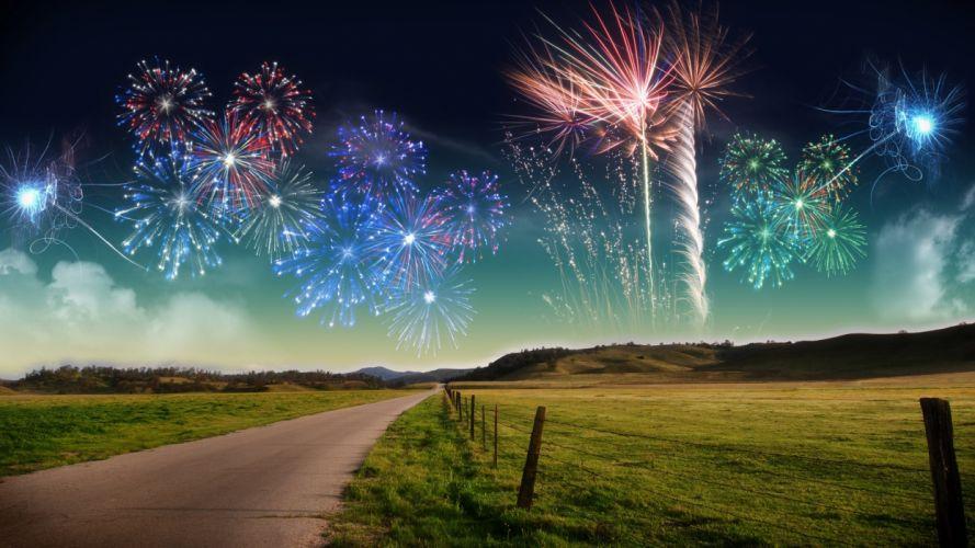 fireworks roads wallpaper