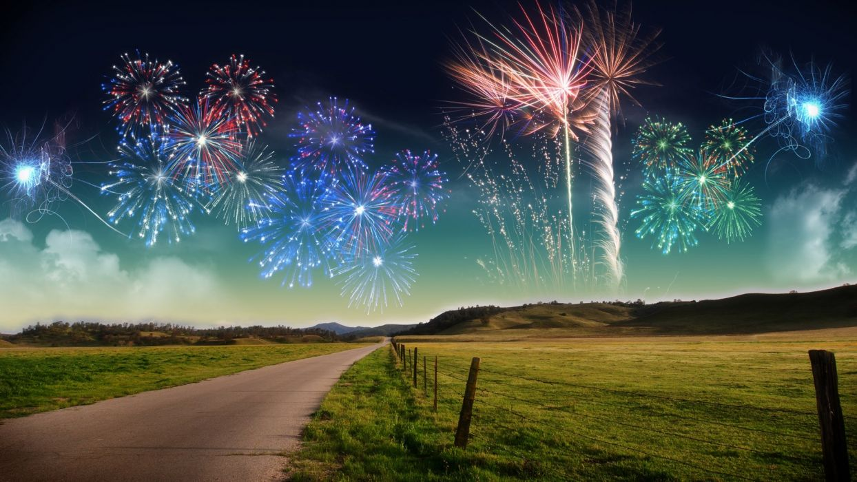 fireworks roads wallpaper