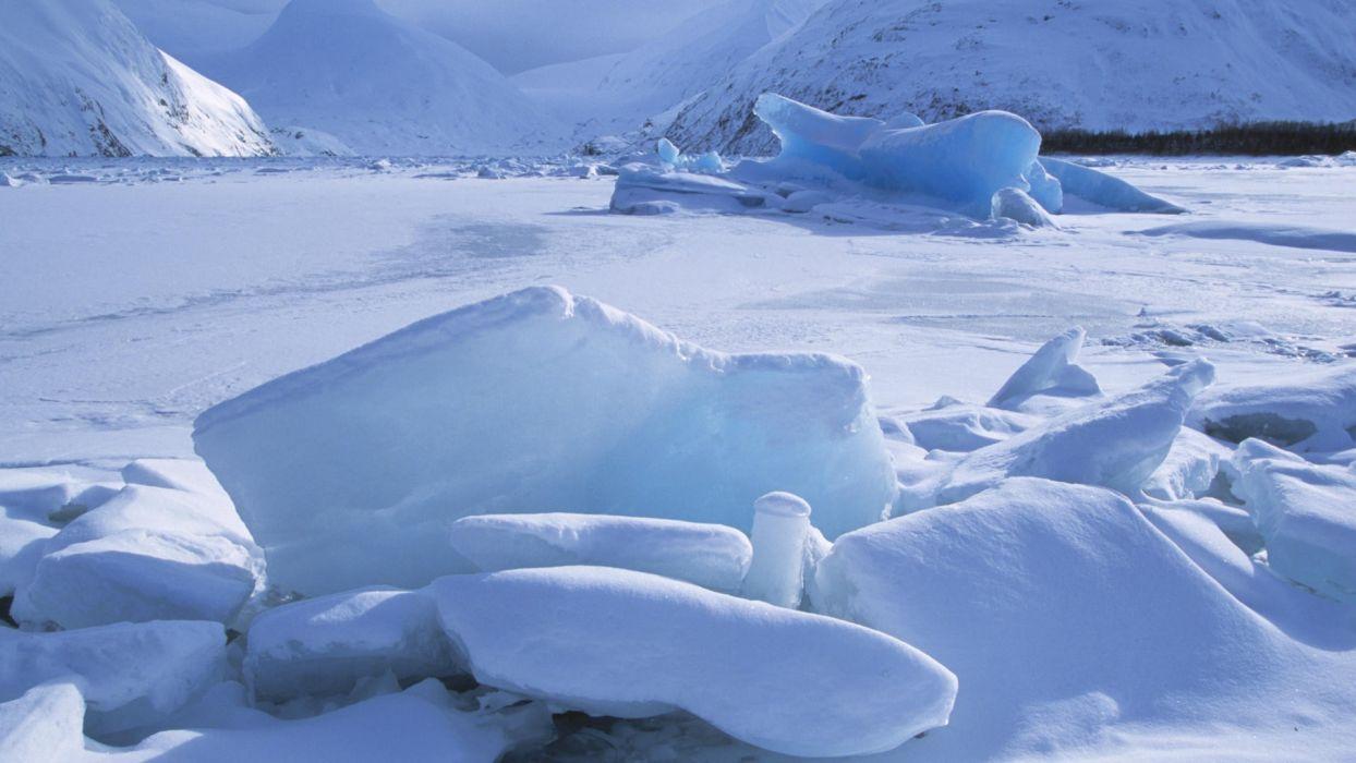 frozen Alaska icebergs wallpaper