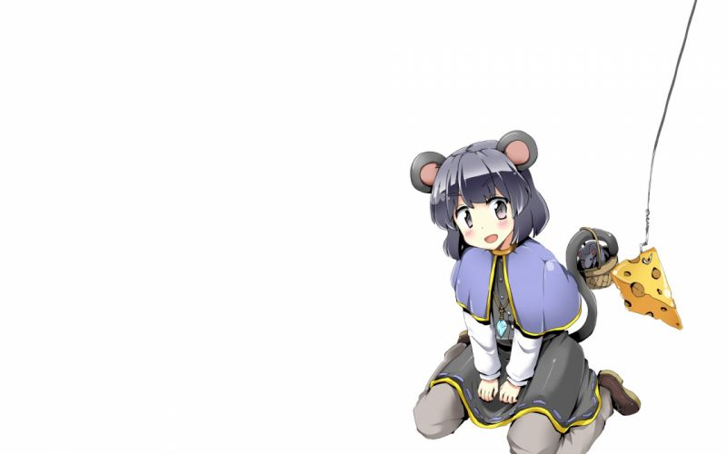 tails video games Touhou food animal ears Nazrin simple background anime girls mouse girl wallpaper