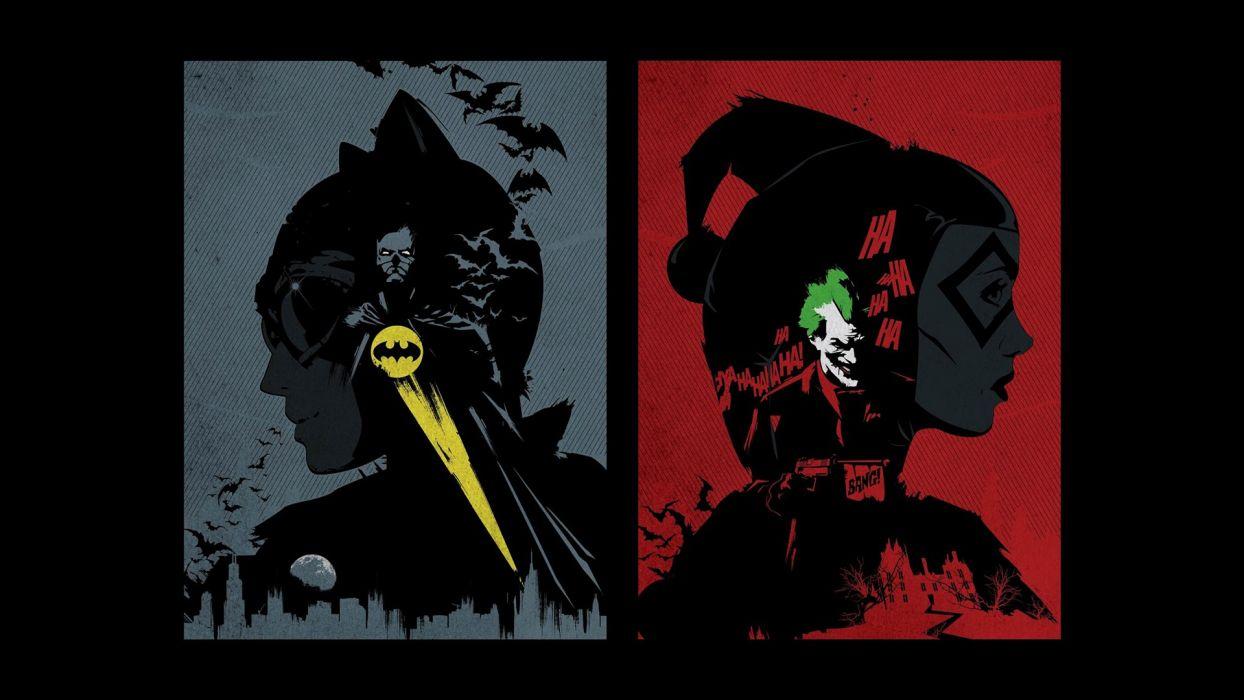 Batman DC Comics comics The Joker Harley Quinn Catwoman fan art wallpaper