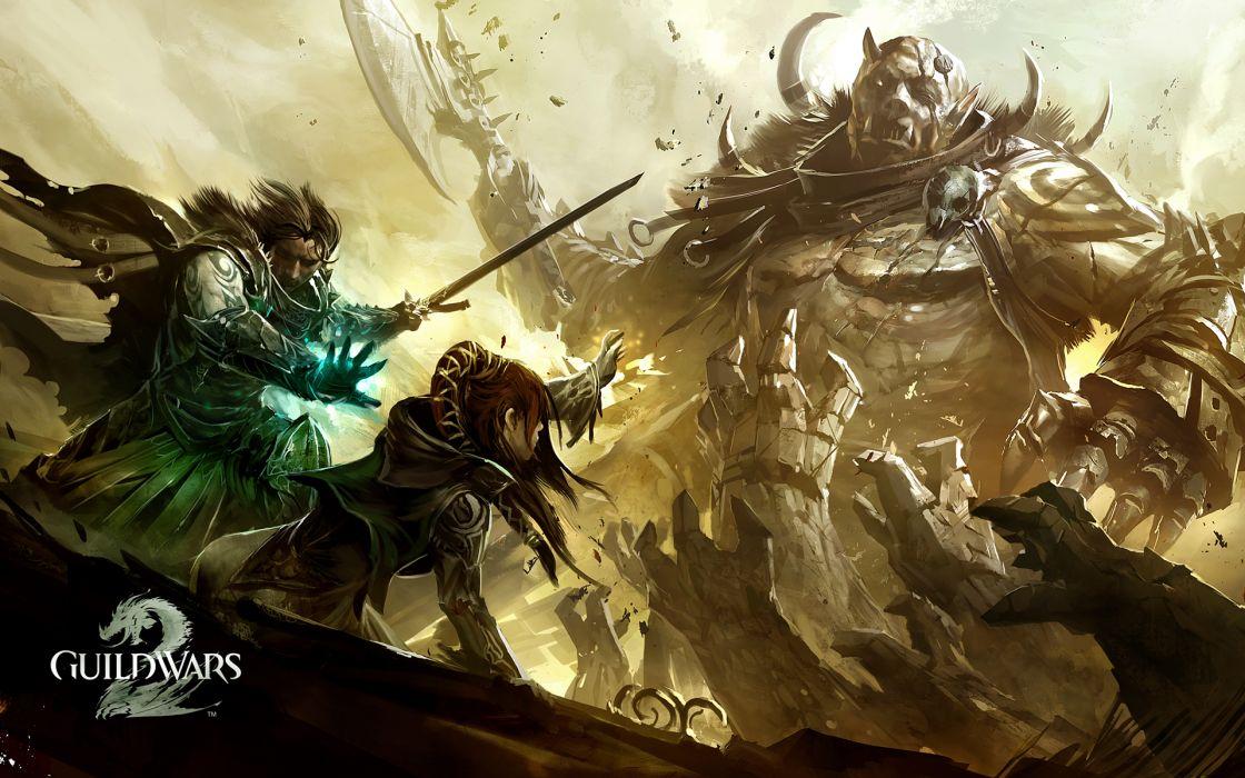 video games monsters knights battles artwork Guild Wars 2 drawings wallpaper