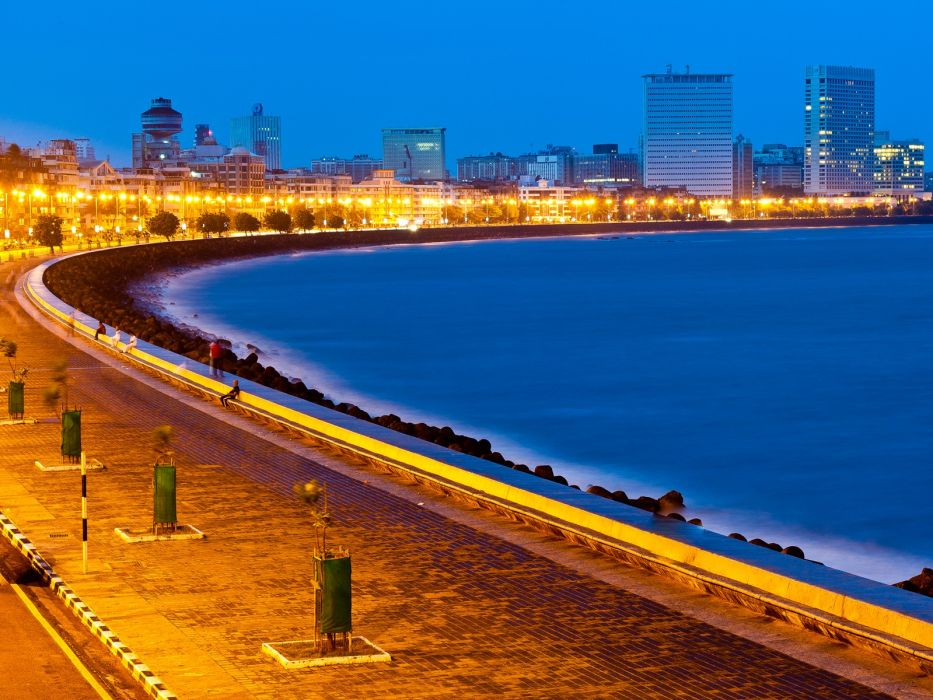 ocean cityscapes night buildings city lights wallpaper