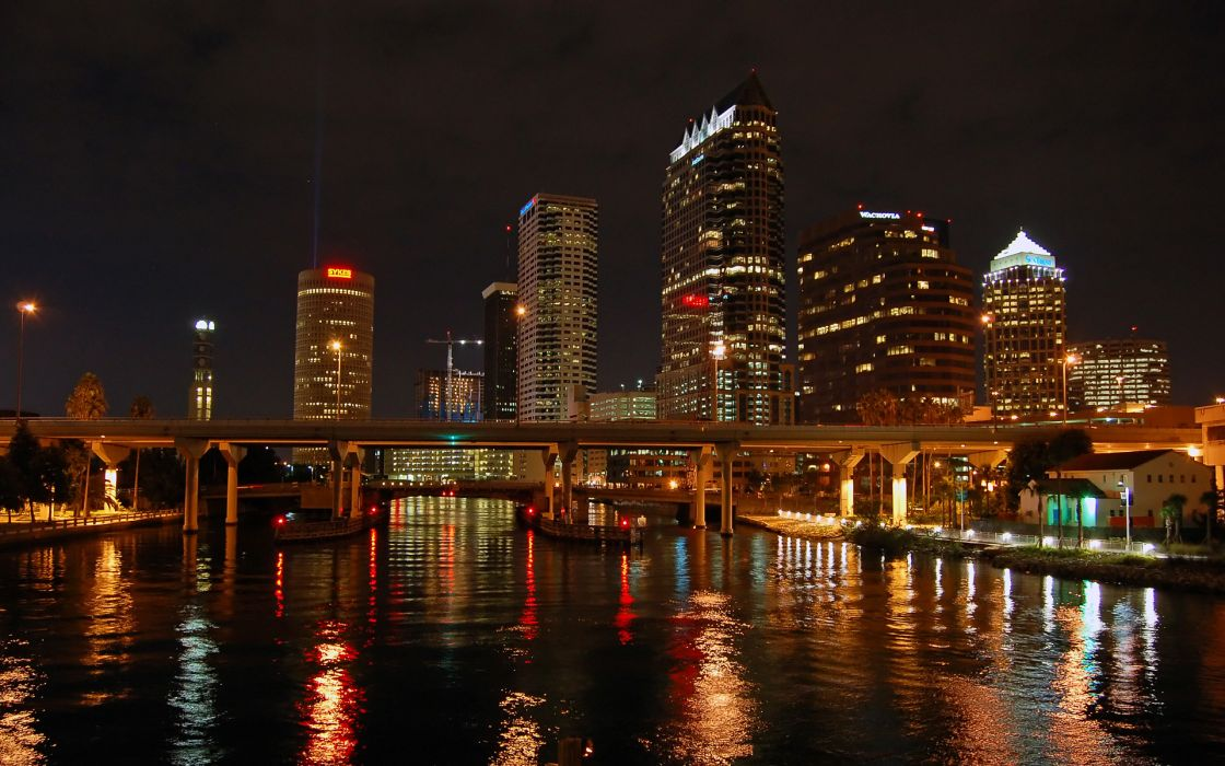 water cityscapes skylines lights architecture bridges buildings Tampa Bay Lightning wallpaper