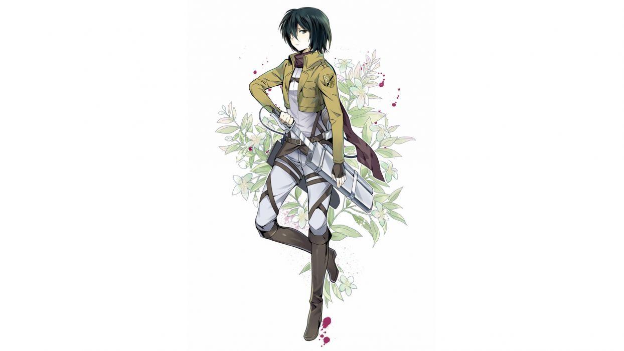 anime simple background anime girls Shingeki no Kyojin Mikasa Ackerman wallpaper