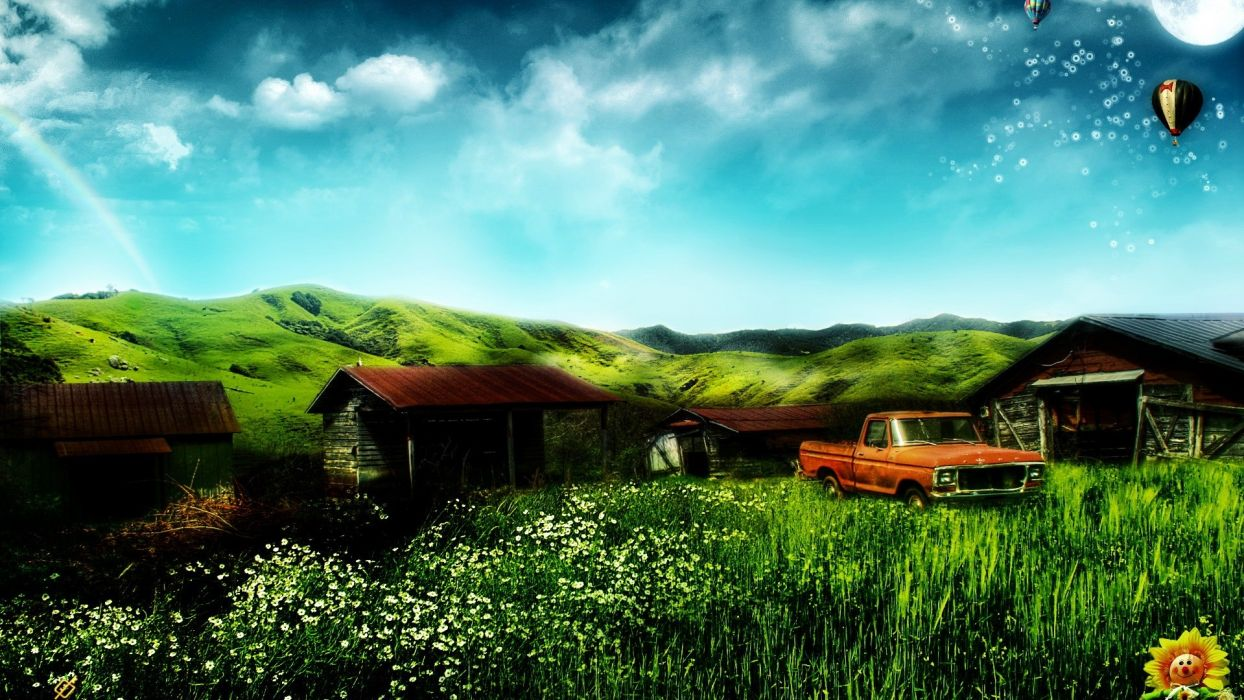 cars home fantasy art digital art house farms wallpaper