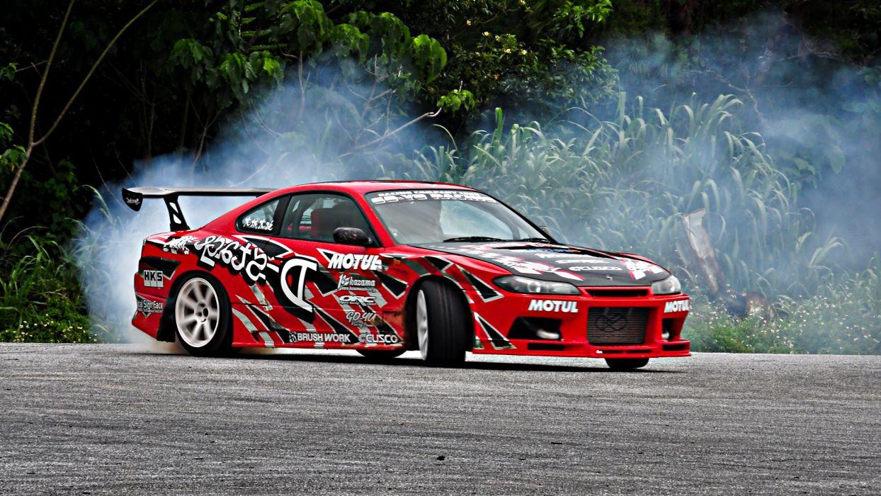 cars drifting cars Nissan Silvia Nissan S15 drifting wallpaper