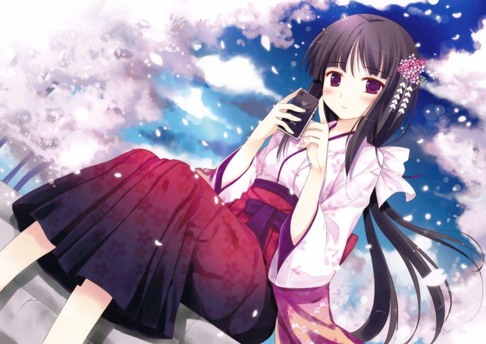 cherry blossoms iPod long hair purple eyes yukata Japanese clothes hair ornaments black hair wallpaper
