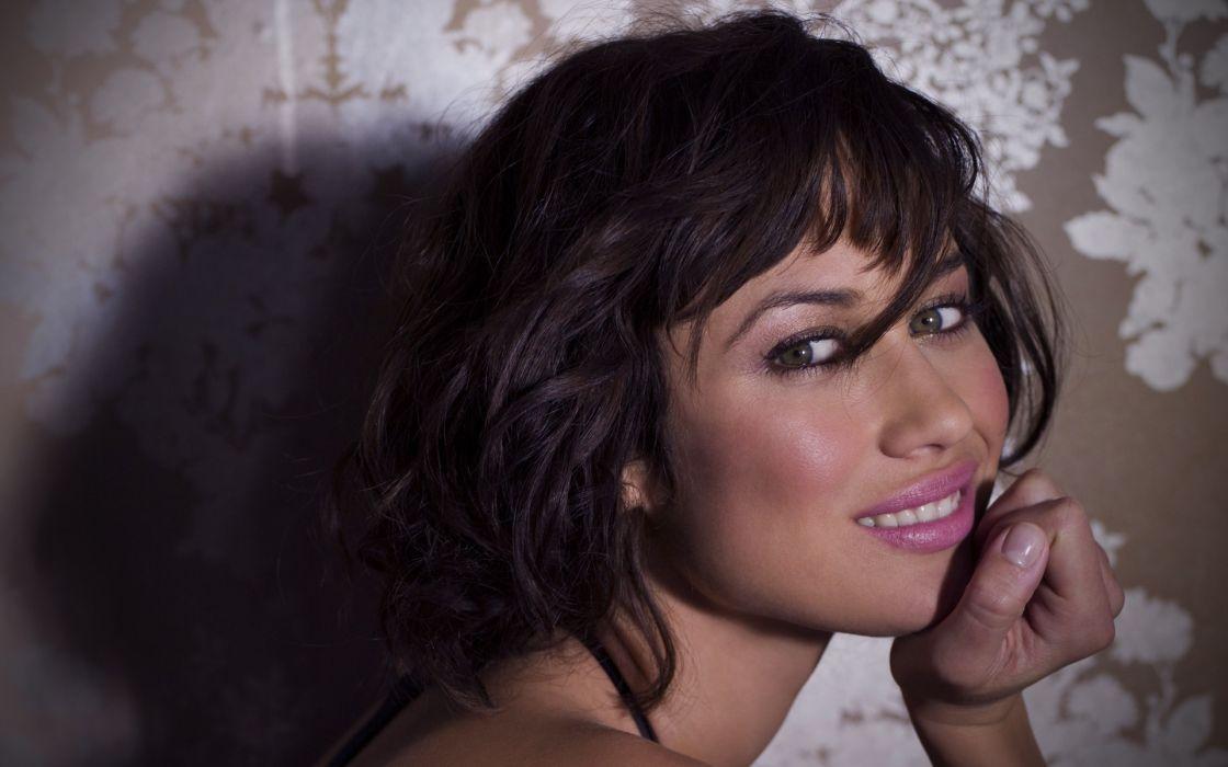 brunettes women close-up celebrity Olga Kurylenko short hair smiling faces portraits wallpaper